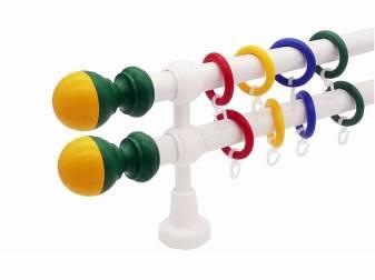 galerie 28 mm Ø  KIDZ plastic capete Bila galben-verde simpla si dubla ideala pentru camera copilului