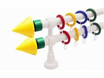 galerie 28 mm KIDZ plastic capete Piramida galben-verde simpla si dubla ideala pentru camera copilului