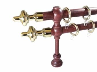 galerie 28 mm SICILIA lemn, capete CARINI, mahon-auriu