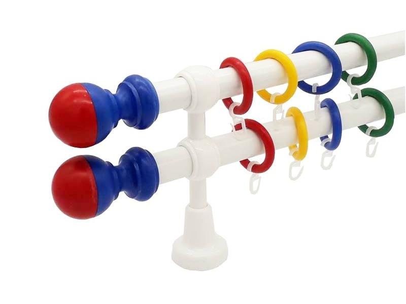 galerie 28 mm Ø  KIDZ plastic capete Bila rosu-albastru simpla si dubla ideala pentru camera copilului