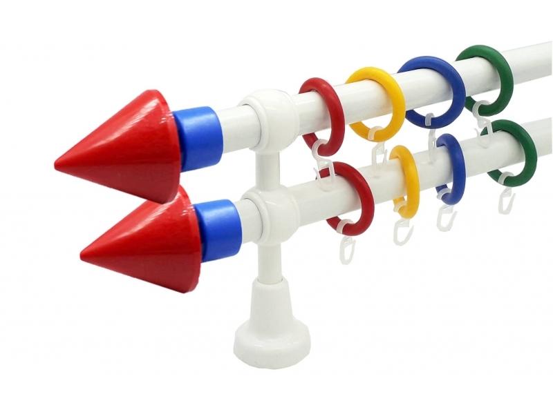 galerie 28 mm KIDZ plastic capete Piramida rosu-albastru simpla si dubla ideala pentru camera copilului