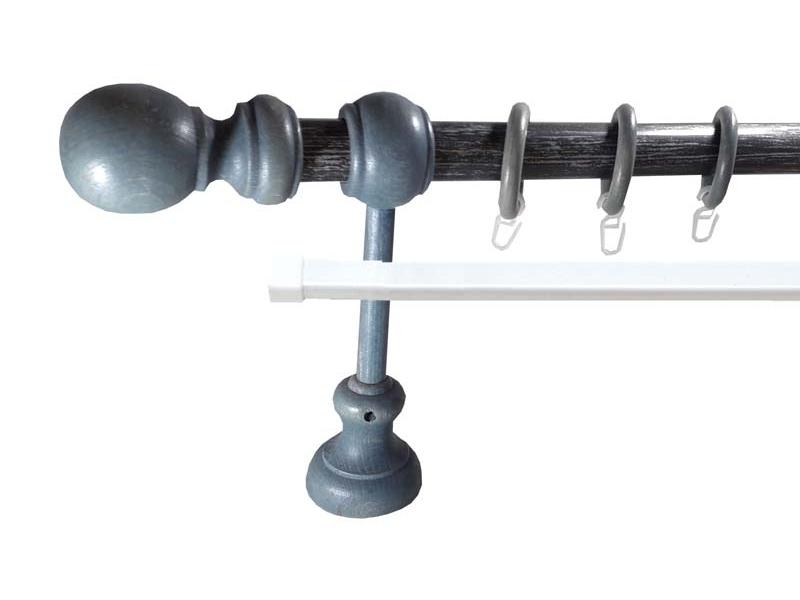 galerie 28 mm LORRAINE metal/lemn, capete SAINTOIS, albastru-antracit argint