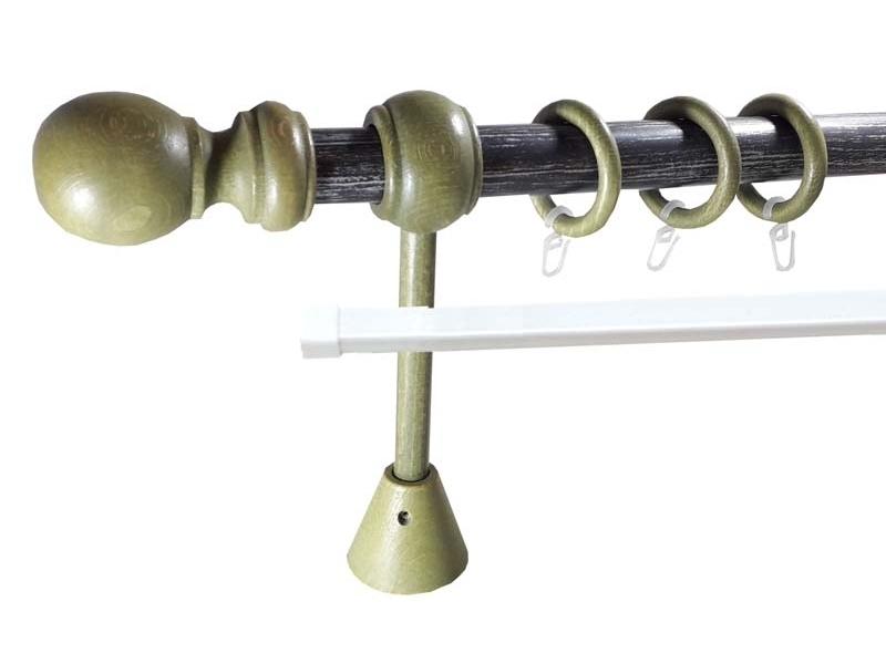 galerie 28 mm LORRAINE metal/lemn, capete SAINTOIS, verde-antracit argint