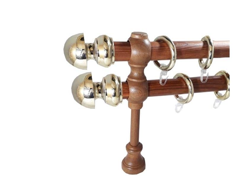 galerie 28 mm SICILIA lemn, capete AVOLA, tek-auriu
