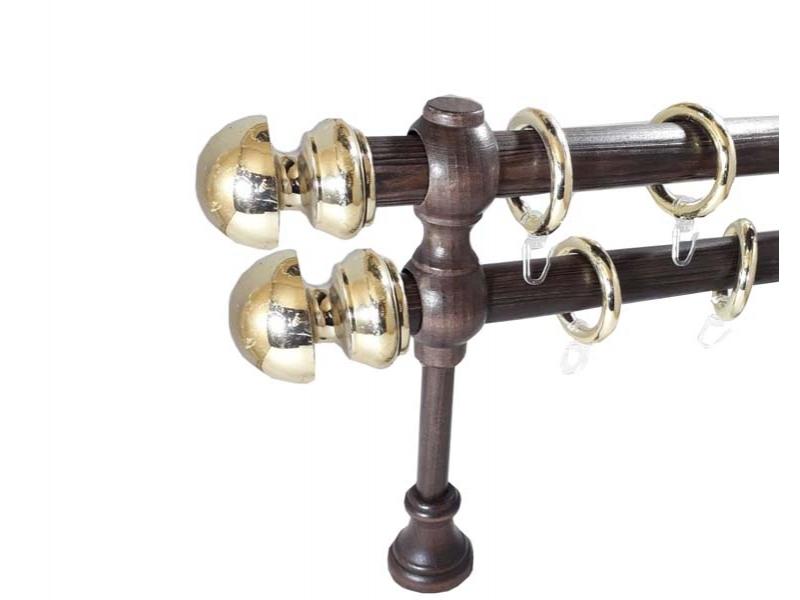 galerie 28 mm SICILIA lemn, capete AVOLA, wenge-auriu