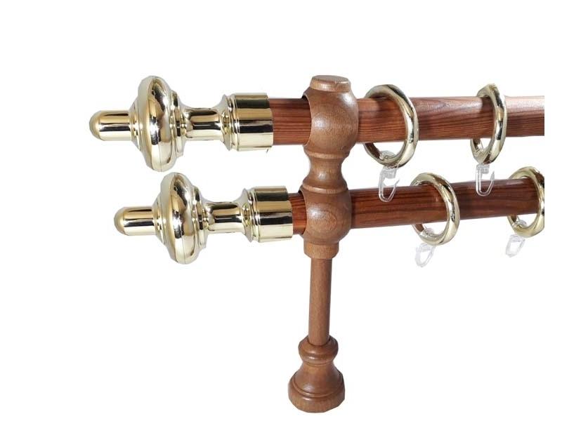 galerie 28 mm SICILIA lemn, capete CARINI, tek-auriu