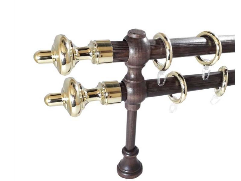 galerie 28 mm SICILIA lemn, capete CARINI, wenge-auriu