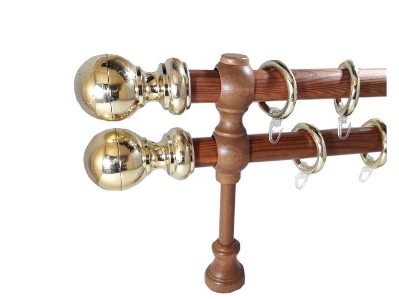 galerie 28 mm SICILIA lemn, capete MILENA, tek-auriu