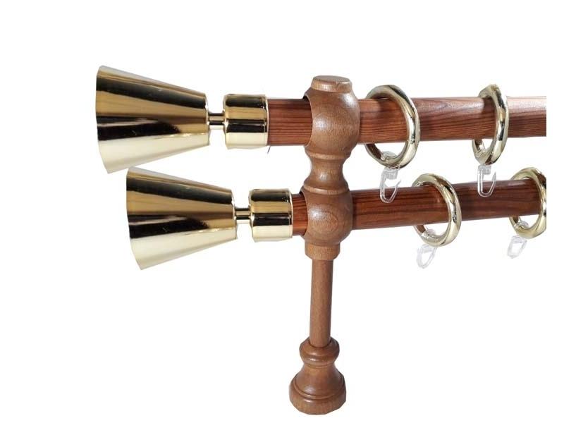 galerie 28 mm SICILIA lemn, capete SCORDIA, tek-auriu