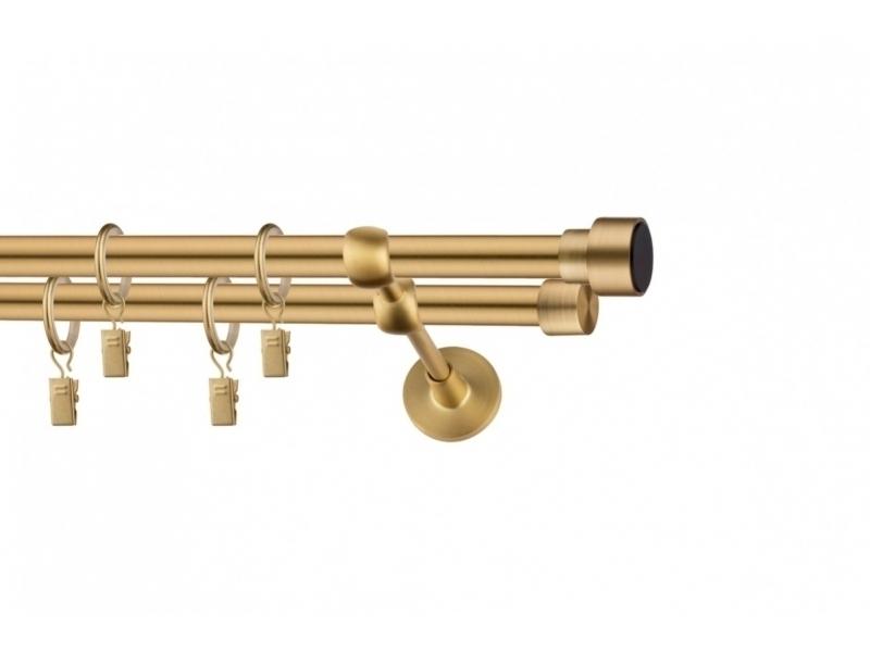LA MASURA - galerie 19 mm Ø HAWAII, capete KAILUA auriu-mat, simpla si dubla