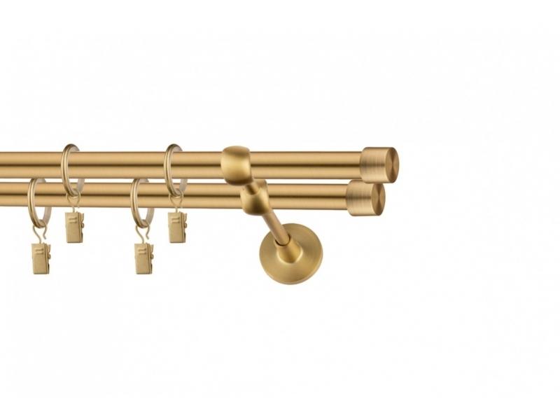 LA MASURA - galerie 19 mm Ø HAWAII, capete KOLOA auriu-mat, simpla si dubla