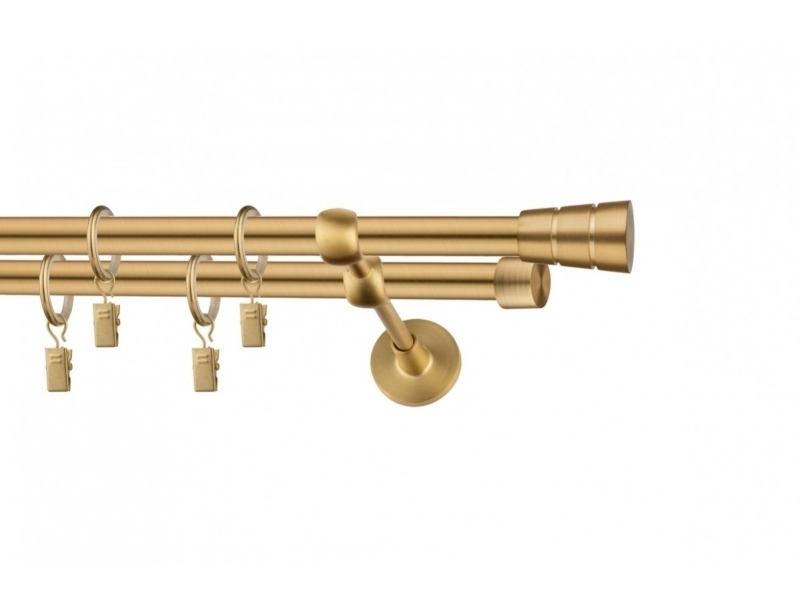 LA MASURA - galerie 19 mm Ø HAWAII, capete MAUI auriu-mat, simpla si dubla